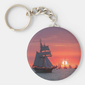 Windjammer in sunset on the Baltic Sea Key Ring