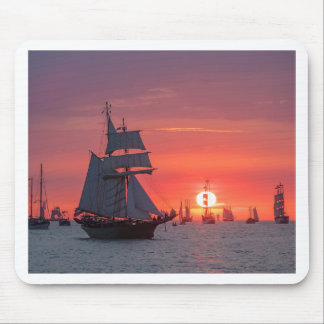 Windjammer in sunset on the Baltic Sea Mouse Pad
