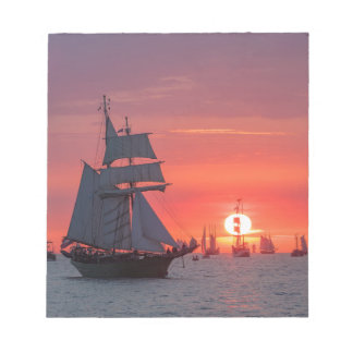 Windjammer in sunset on the Baltic Sea Notepad