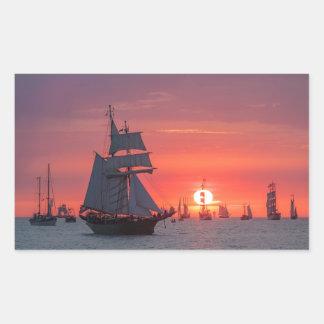 Windjammer in sunset on the Baltic Sea Rectangular Sticker