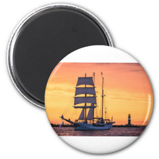 Windjammer on the Baltic Sea 6 Cm Round Magnet