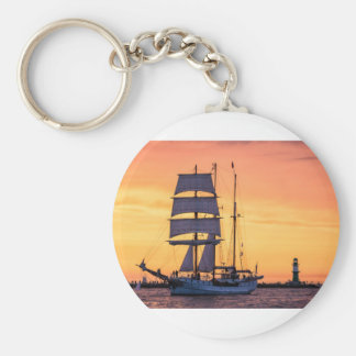 Windjammer on the Baltic Sea Basic Round Button Key Ring