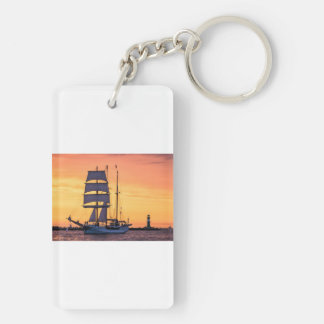 Windjammer on the Baltic Sea Double-Sided Rectangular Acrylic Key Ring