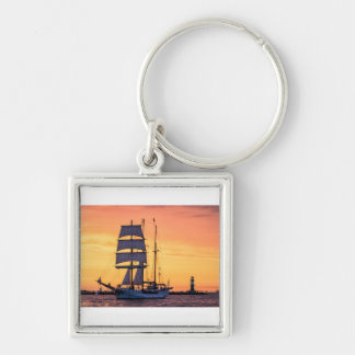 Windjammer on the Baltic Sea Silver-Colored Square Key Ring