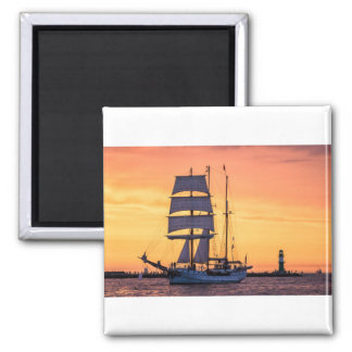 Windjammer on the Baltic Sea Square Magnet