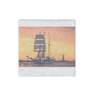 Windjammer on the Baltic Sea Stone Magnet