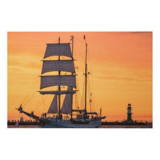 Windjammer on the Baltic Sea Wood Prints