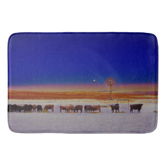 Windmill and Cows Night Feed Bathmat