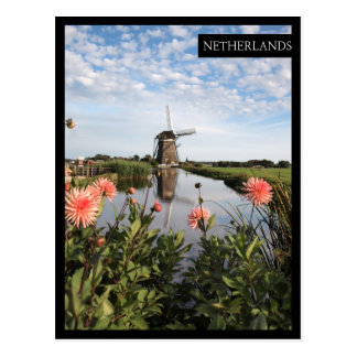 Windmill and flowers, Holland vertical edge card