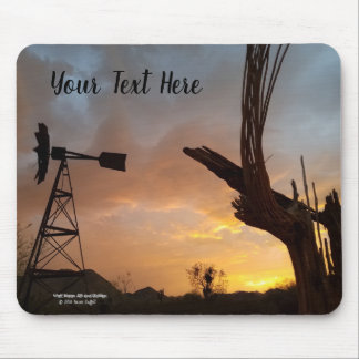 Windmill and Saguaro Cactus Skeleton at Sunset Mouse Pad