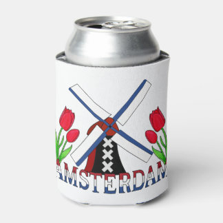 Windmill And Tulips Amsterdam Netherlands Can Cool Can Cooler