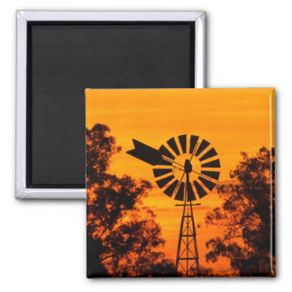 Windmill at Sunset, Australia Square Magnet