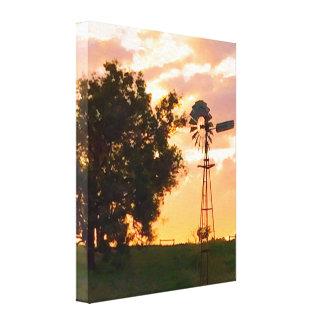 Windmill At Sunset Stretch Canvas Print