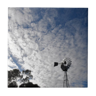 WINDMILL & CLOUDY  SKY QUEENSLAND AUSTRALIA CERAMIC TILE