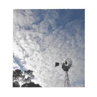WINDMILL & CLOUDY  SKY QUEENSLAND AUSTRALIA NOTEPAD