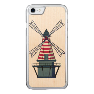 Windmill Illustration Carved iPhone 7 Case