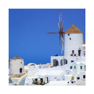 Windmill in Oia, Santorini, Greece Canvas Print