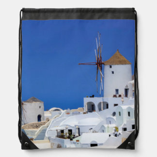 Windmill in Oia, Santorini, Greece Drawstring Bag