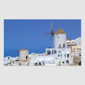 Windmill in Oia, Santorini, Greece Rectangular Sticker