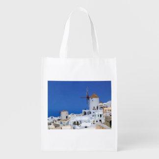 Windmill in Oia, Santorini, Greece Reusable Grocery Bag