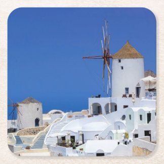 Windmill in Oia, Santorini, Greece Square Paper Coaster