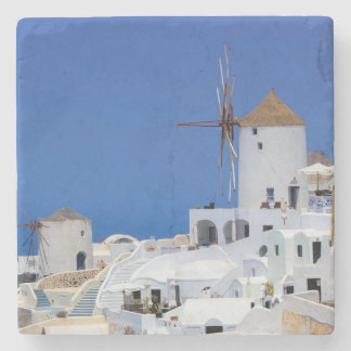 Windmill in Oia, Santorini, Greece Stone Coaster