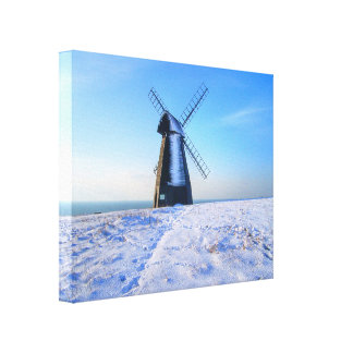 Windmill in Snow Stretched Canvas Print