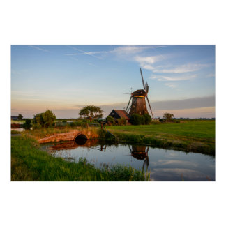 Windmill in the countryside in Holland big poster