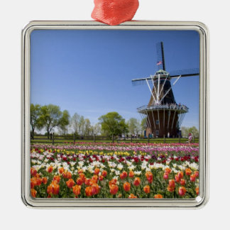 Windmill Island park with tulips in bloom at Silver-Colored Square Decoration