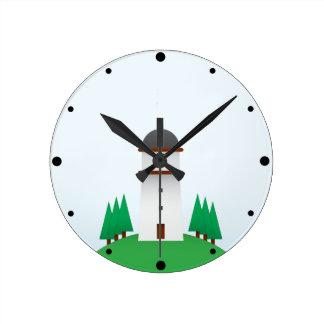 Windmill Round Clock