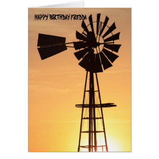 Windmill Silhouette Birthday Card