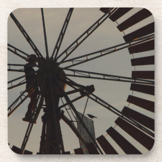 Windmill silhouette drink coaster set