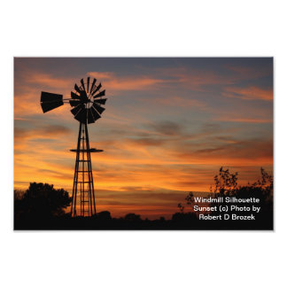 Windmill Silhouette Sunset Photo