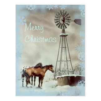 WINDMILL & SNOWFLAKES by SHARON SHARPE Postcard
