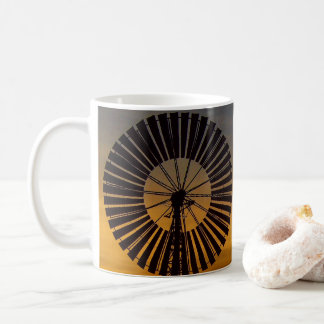 Windmill sunset coffee mug