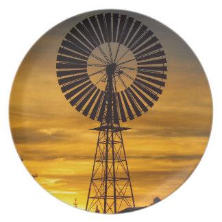 Windmill Sunset melamine plate