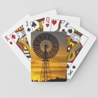 Windmill sunset playing cards
