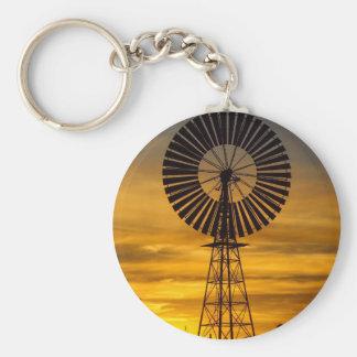 Windmill Sunset round keyring