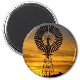 Windmill Sunset round magnet