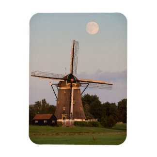 Windmill under a full moon photo magnet