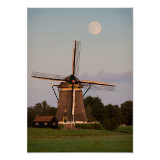 Windmill under a full moon poster
