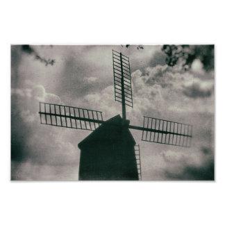 Windmill, Vintage Black & White Weather Vane Photo Art