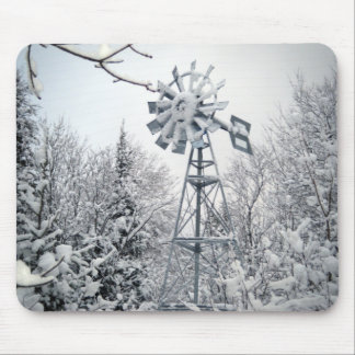 Windmill Winter Scene Mouse Pad