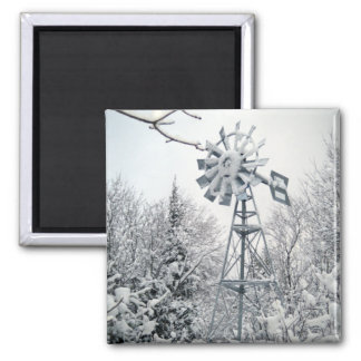 Windmill Winter Tree Scene Magnet