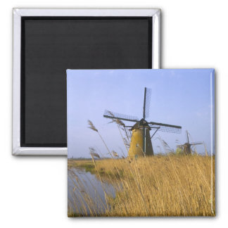 Windmills along the canal in Kinderdijk, 2 Refrigerator Magnets