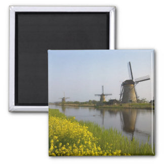 Windmills along the canal in Kinderdijk, Square Magnet
