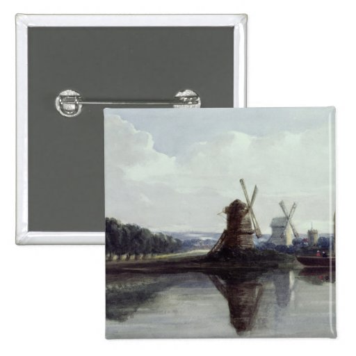 Windmills by a River, 19th century Pins