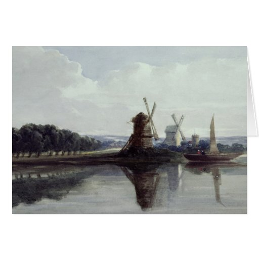 Windmills by a River, 19th century Card