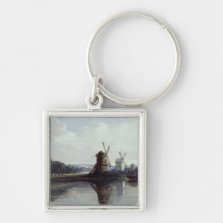 Windmills by a River 19th century Keychain