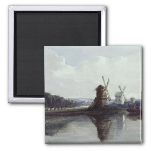 Windmills by a River, 19th century Fridge Magnet